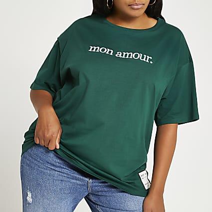 Plus green 'Mon Amour' print t-shirt