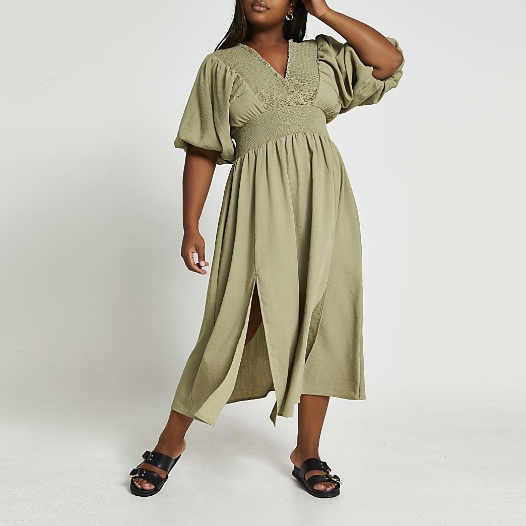 Plus green puff sleeve maxi dress