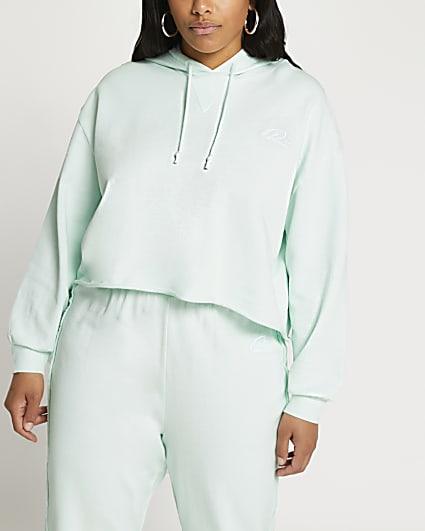 Plus green raw edge long sleeve hoodie