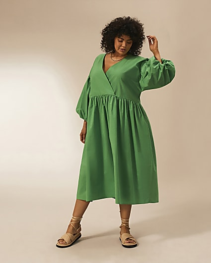Plus green RI Studio cotton oversized dress