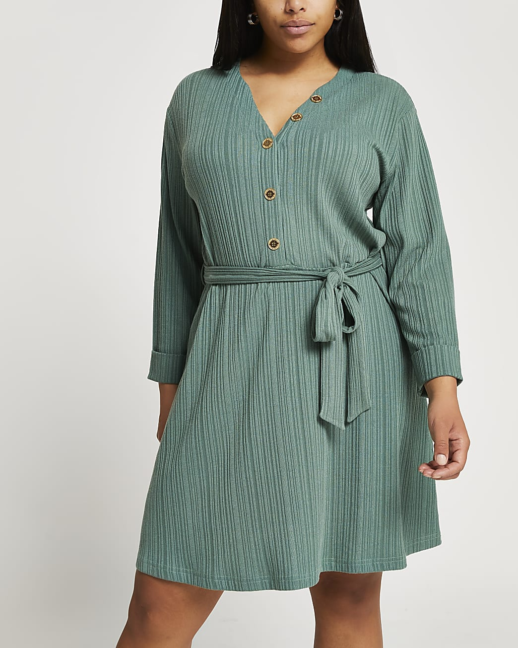 Plus green ribbed button front mini dress