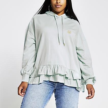 Plus green RVR frill hem hoodie