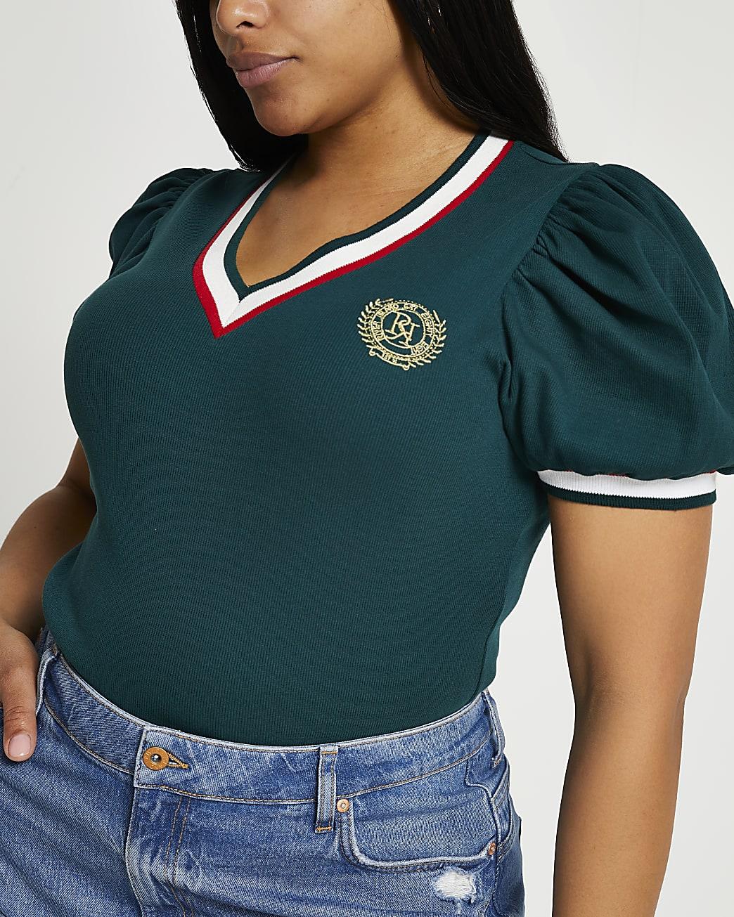 Plus green short puff sleeve t-shirt