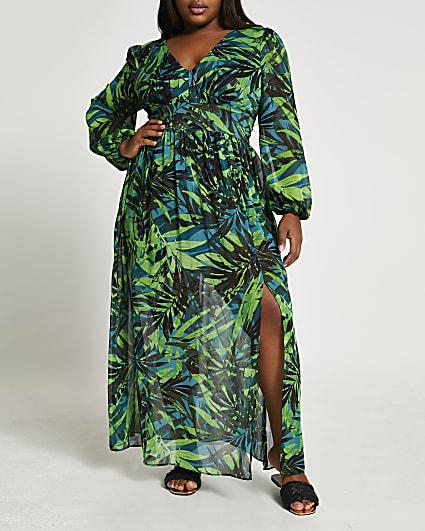 Plus green tropical print maxi dress