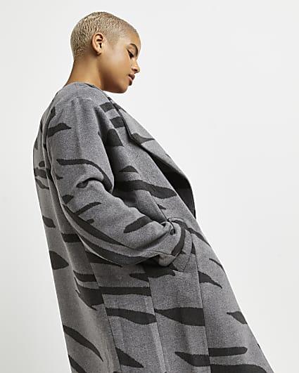 Plus grey animal print oversized coat