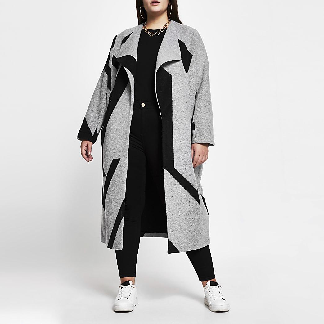 Plus grey aztec print coatigan