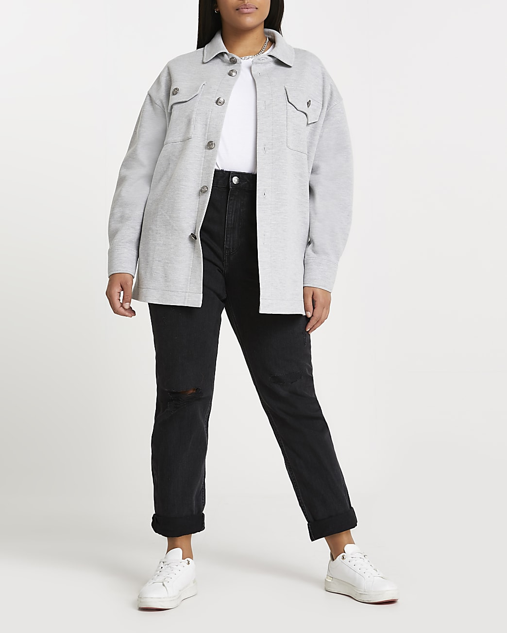 Plus grey button up long sleeve shacket