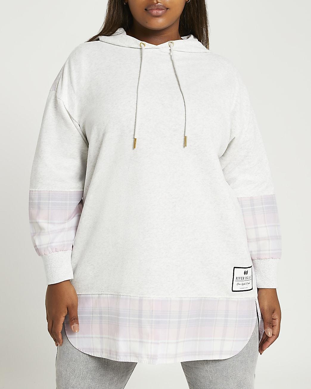 Plus grey check oversized hoodie