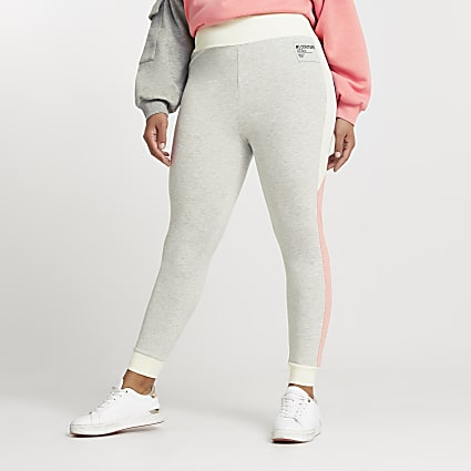 Plus grey colour block patch leggings