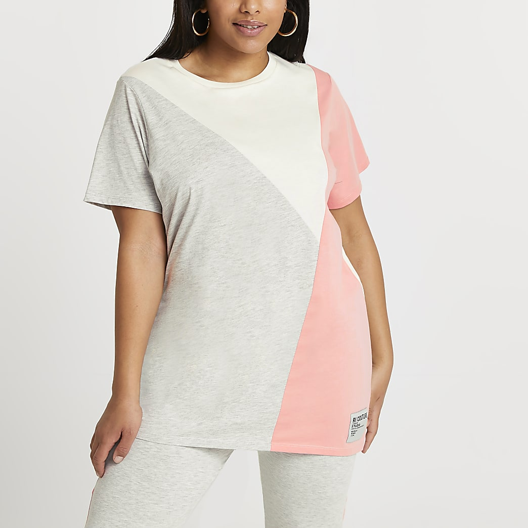 Plus grey diagonal colour block jumbo t-shirt
