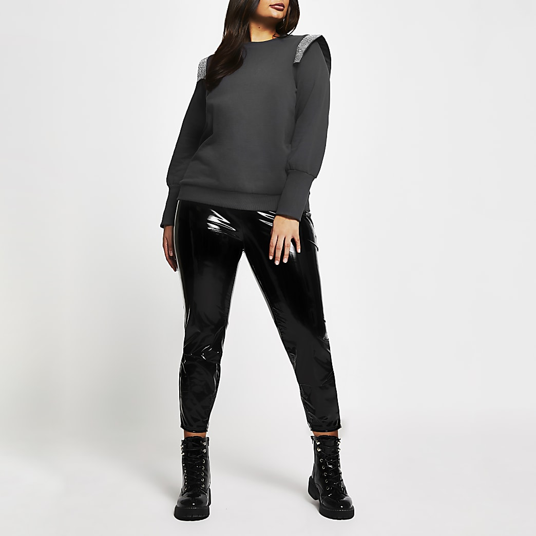 Plus grey diamante detail sweatshirt