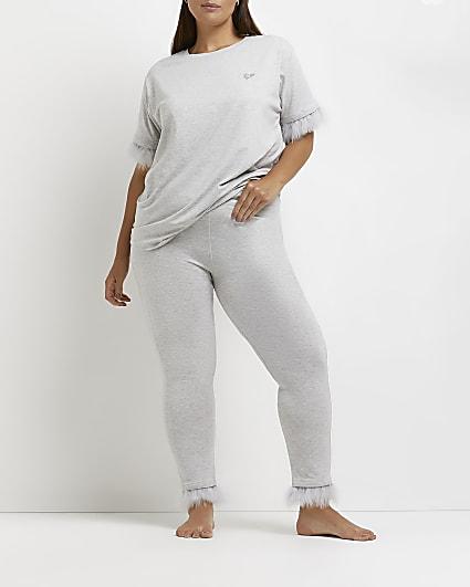 Plus grey feather trim leggings