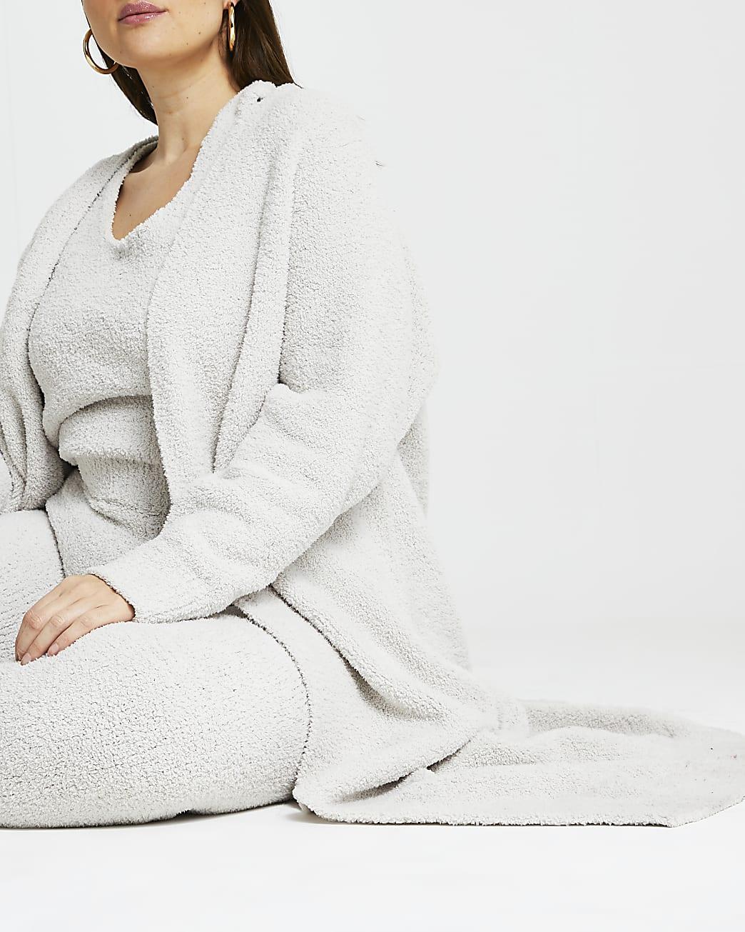 Plus grey fluffy cardigan