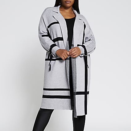 Plus grey geometric design duster jacket