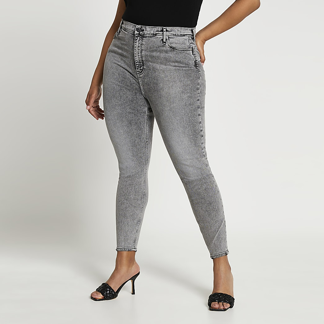 Plus grey high waisted sculpt skinny jeans