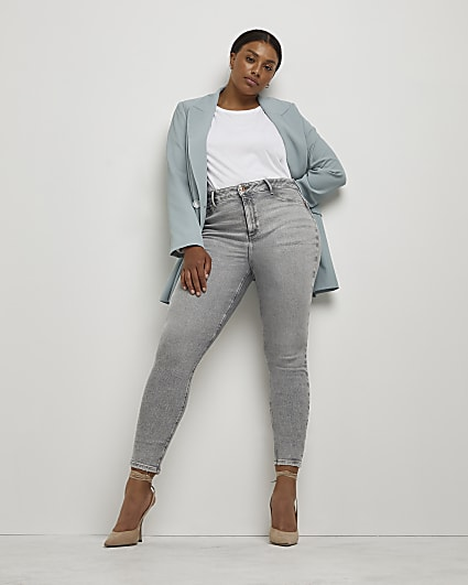 Plus grey high waisted skinny jeans