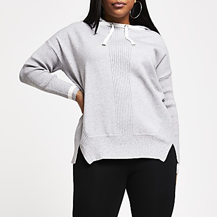 Plus grey knitted hoodie
