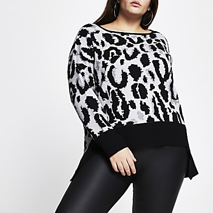 Plus grey leopard print high low hem jumper