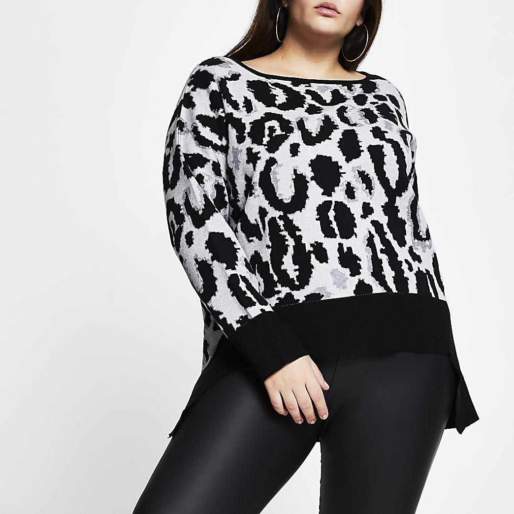 Plus grey leopard print high low hem jumper
