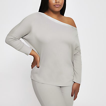 Plus grey long sleeve asymmetric sweatshirt