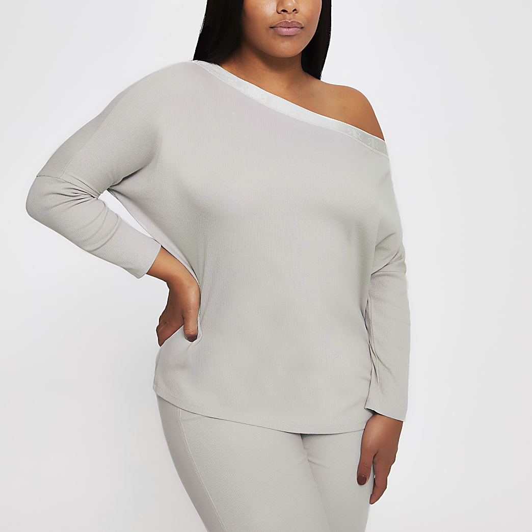 Plus grey long sleeve asymmetric sweatshirt