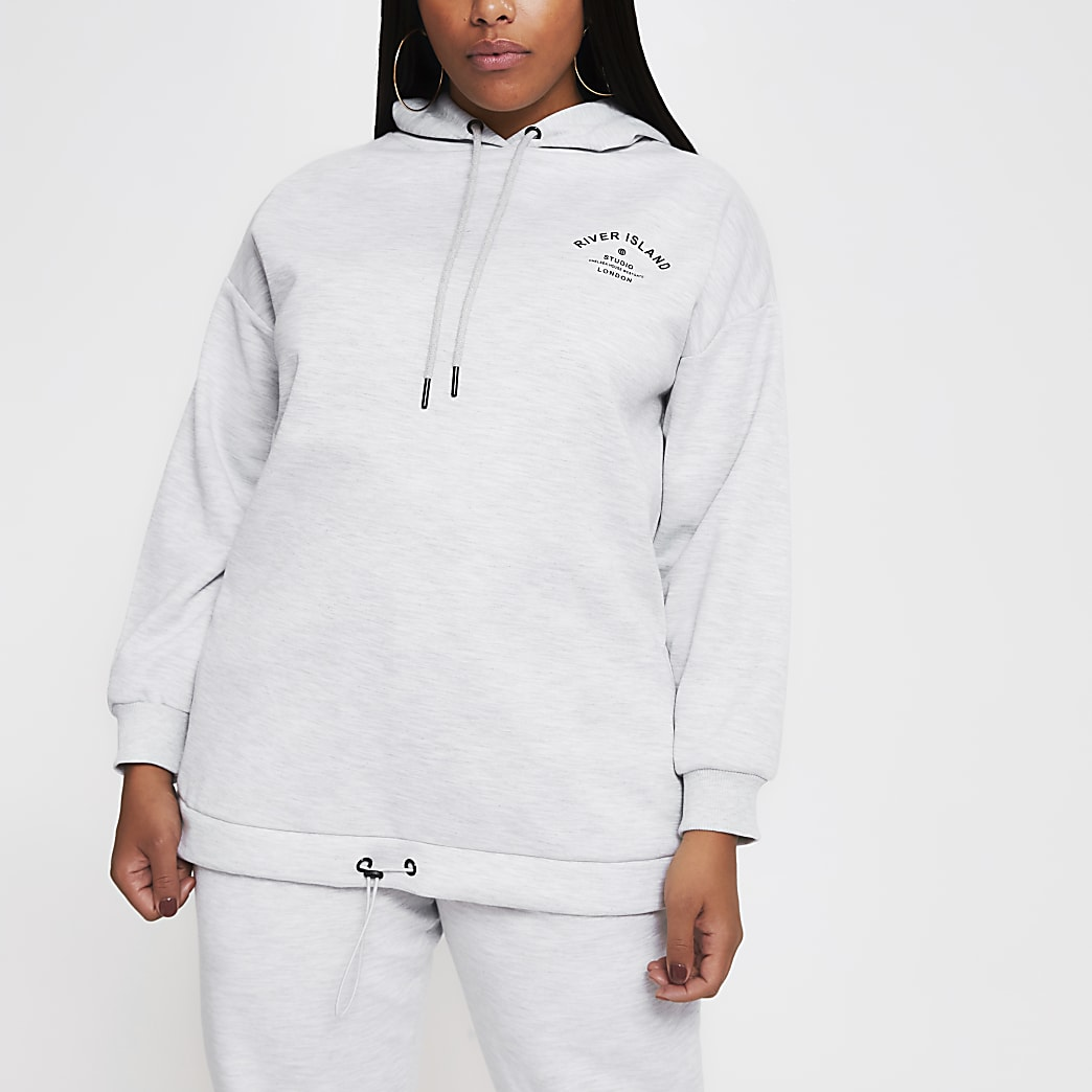 Plus grey long sleeve back print hoody
