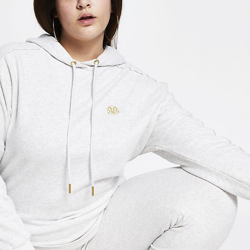 Plus grey long sleeve RI branded hoodie
