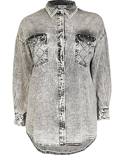 Plus grey longline denim shirt
