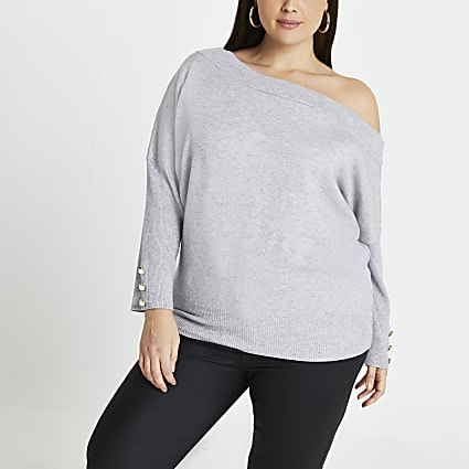 Plus grey open neck asymmetric top