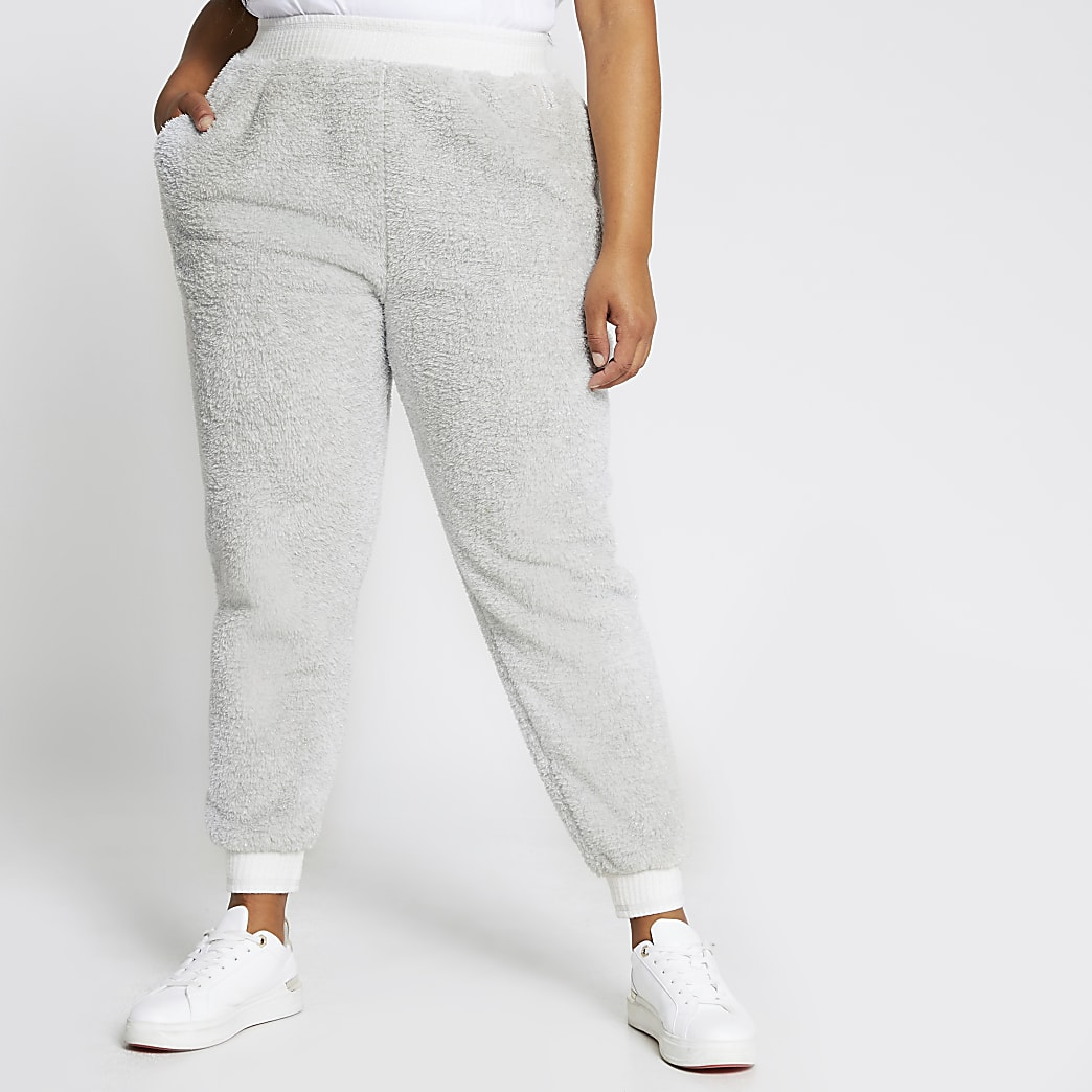 Plus grey plush cuffed jogger