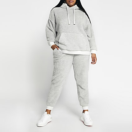 Plus grey plush long sleeve hoodie