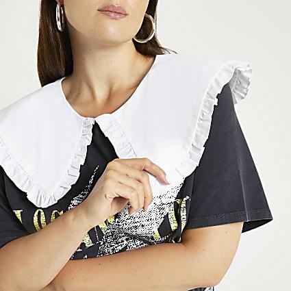Plus grey printed collar t-shirt