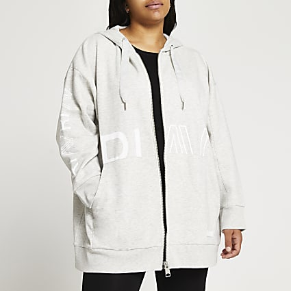 Plus grey RI Active zip through hoodie