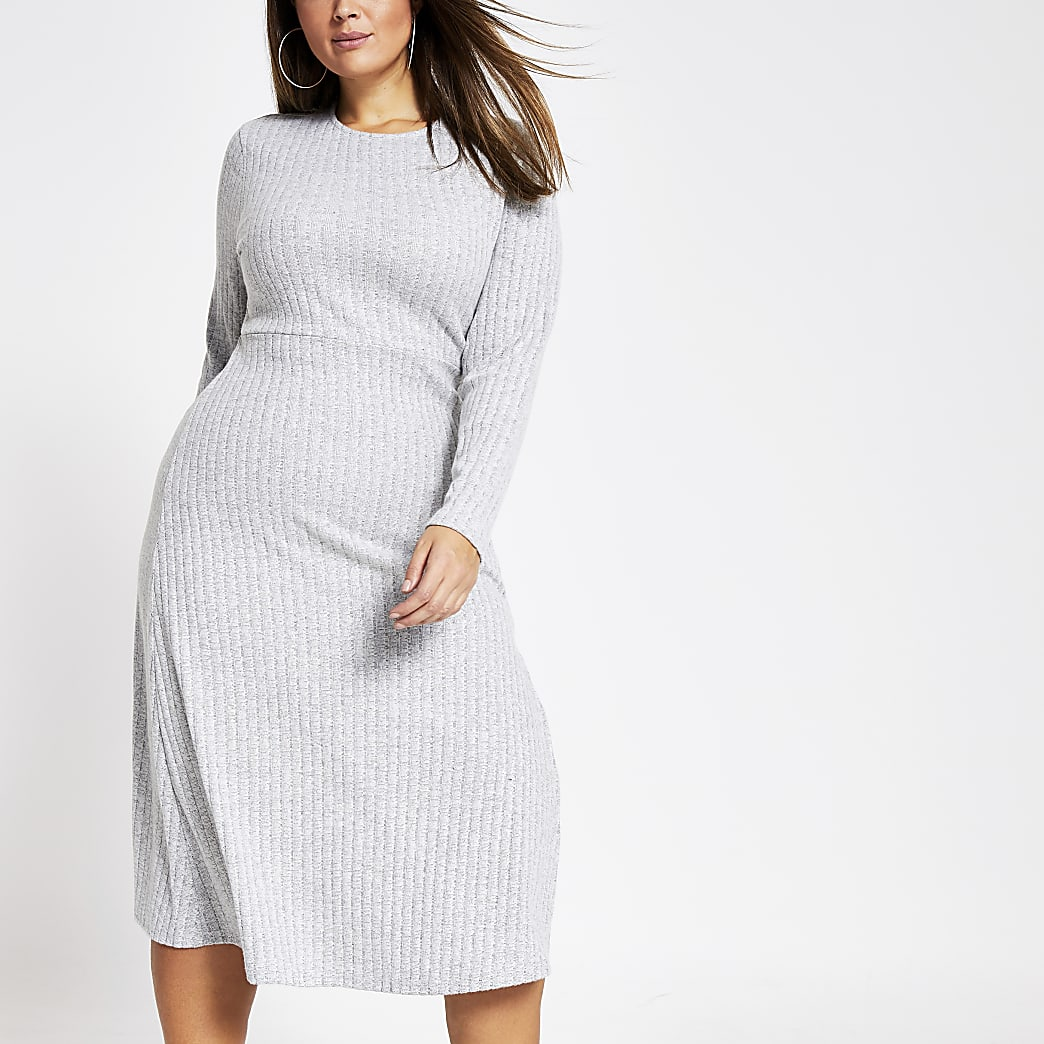 Plus grey ribbed jersey midi dress