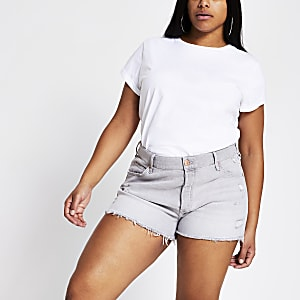 RI Plus - Grijze ripped mid rise denim short
