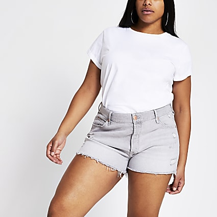 Plus grey ripped mid rise denim shorts
