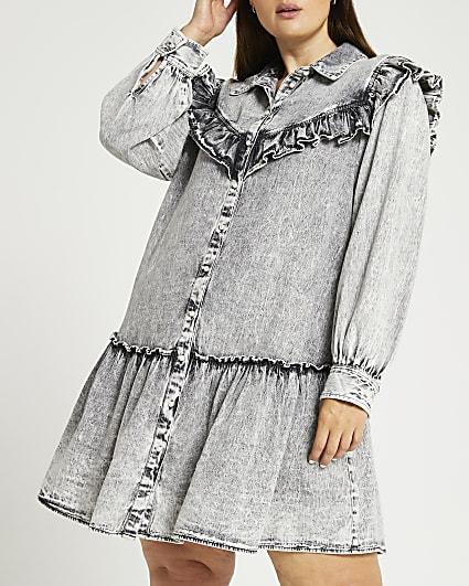 Plus grey ruffled shirt dress
