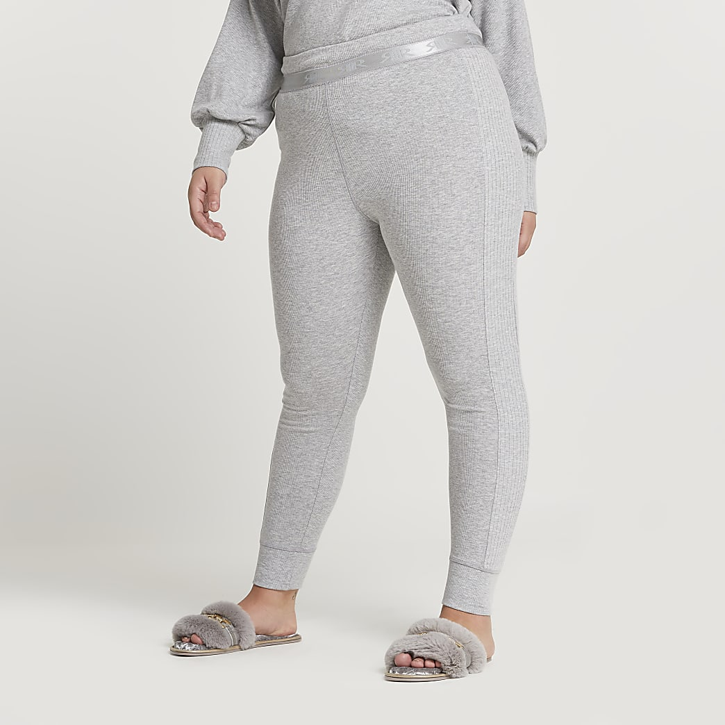 Plus grey seam detail ribbed leggings