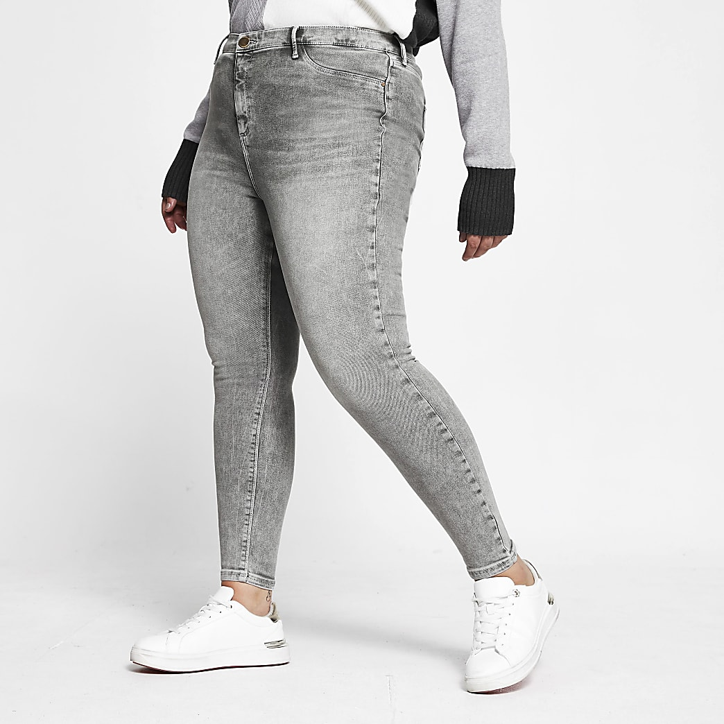 Plus grey skinny mid rise Molly jeggings