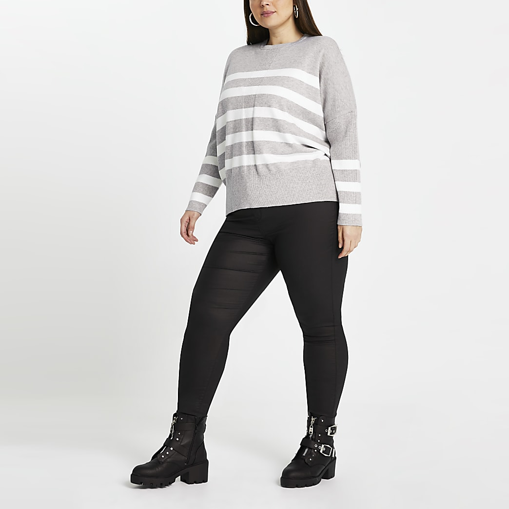 Plus grey stripe long sleeve jumper