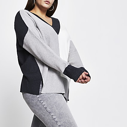 Plus grey v neck colour block jumper