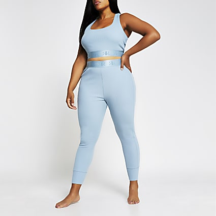 Plus Intimates blue seam ribbed RI leggings