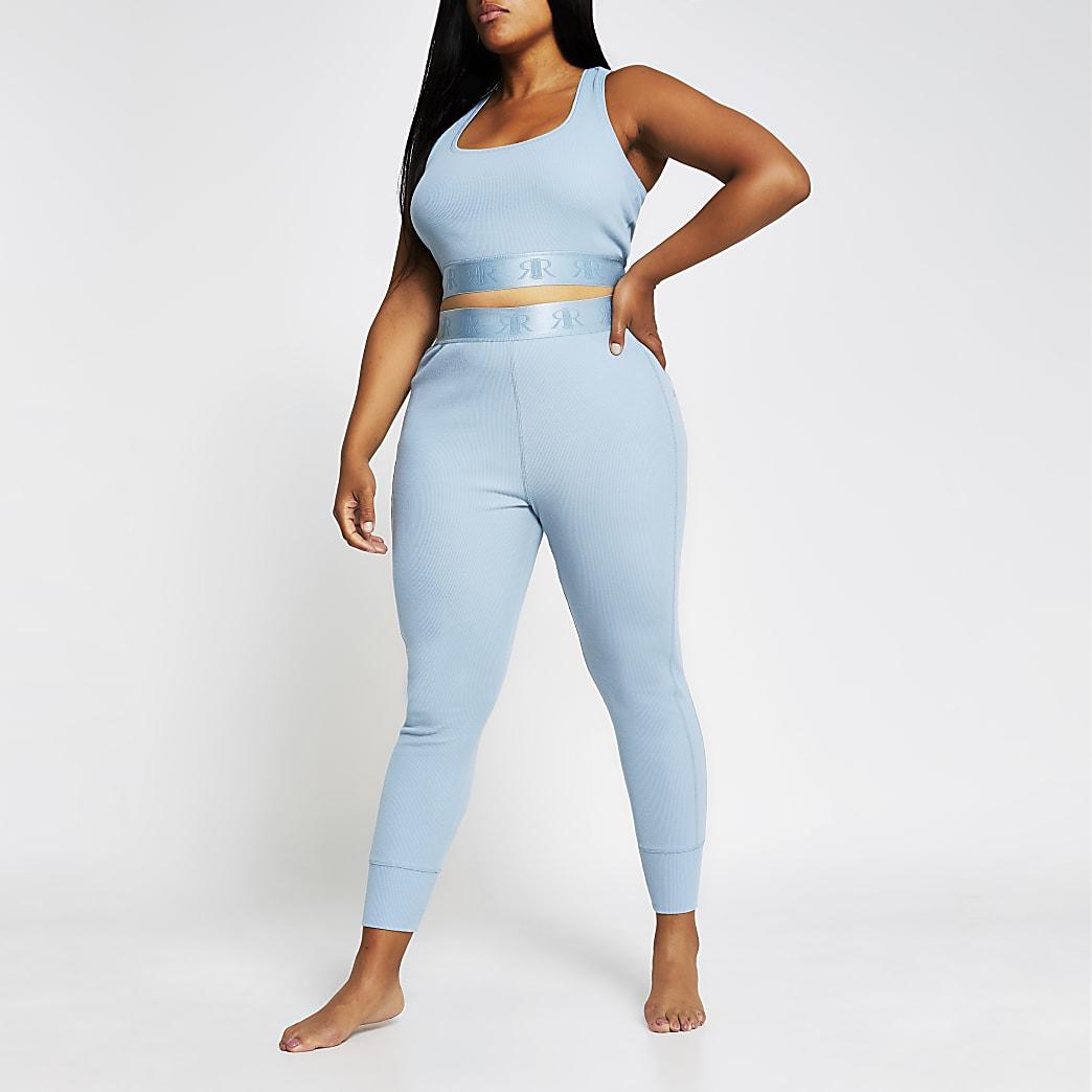 Plus Intimates blue seam ribbed RI leggings
