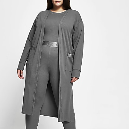 Plus Intimates grey RI longline cardigan