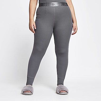 Plus Intimates grey ribbed leggings