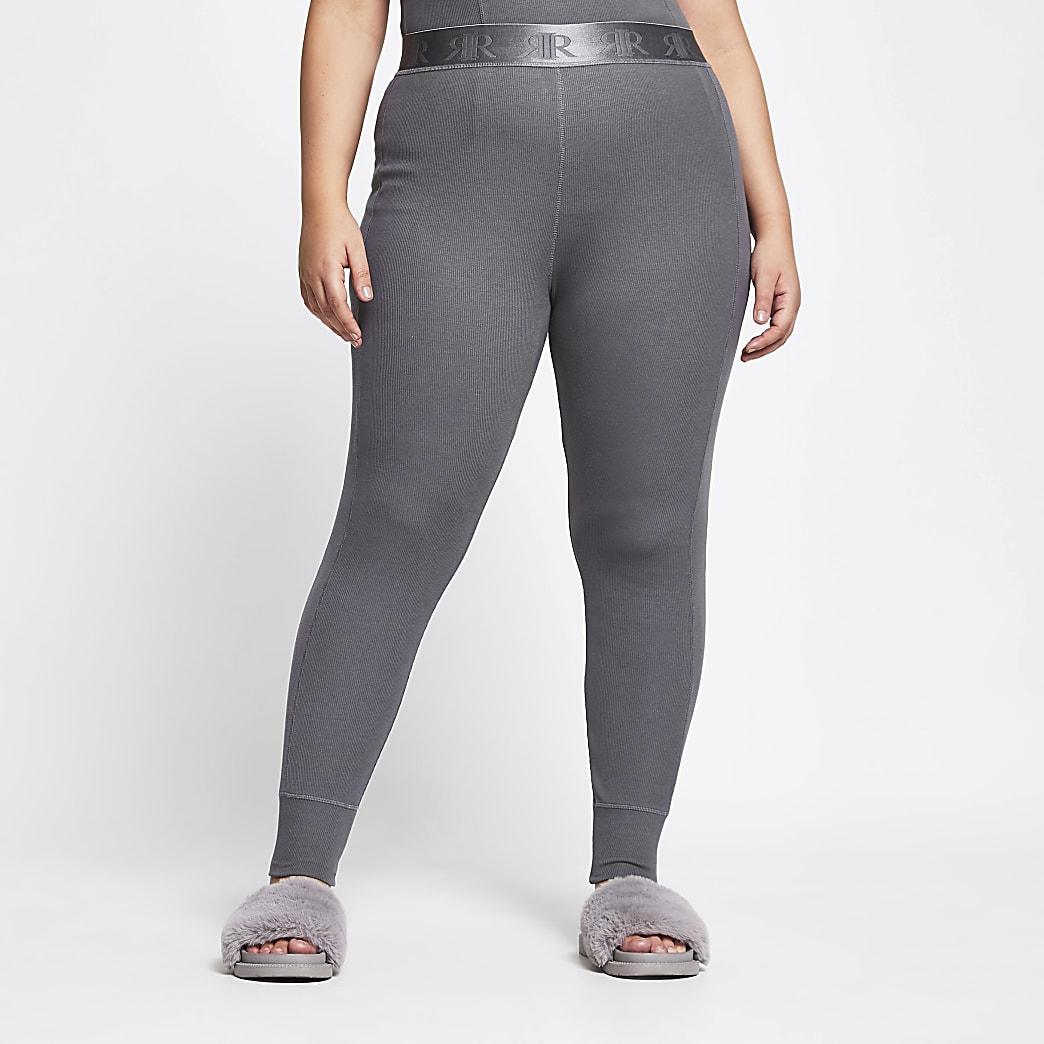 Plus Intimates grey ribbed leggings