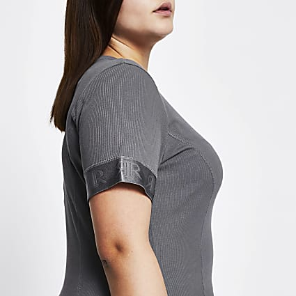 Plus Intimates grey short sleeve ribbed top