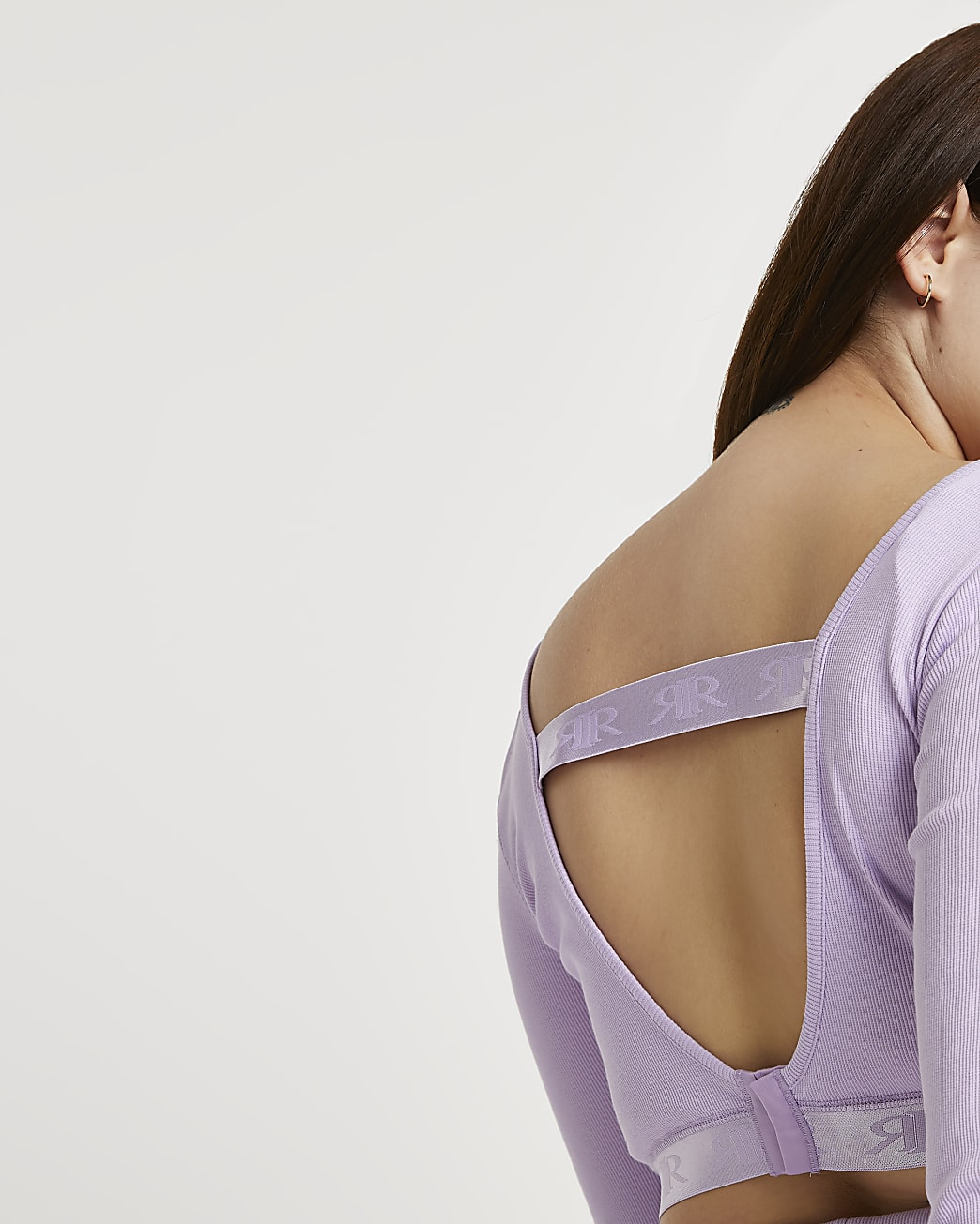 Plus Intimates purple long sleeve crop top