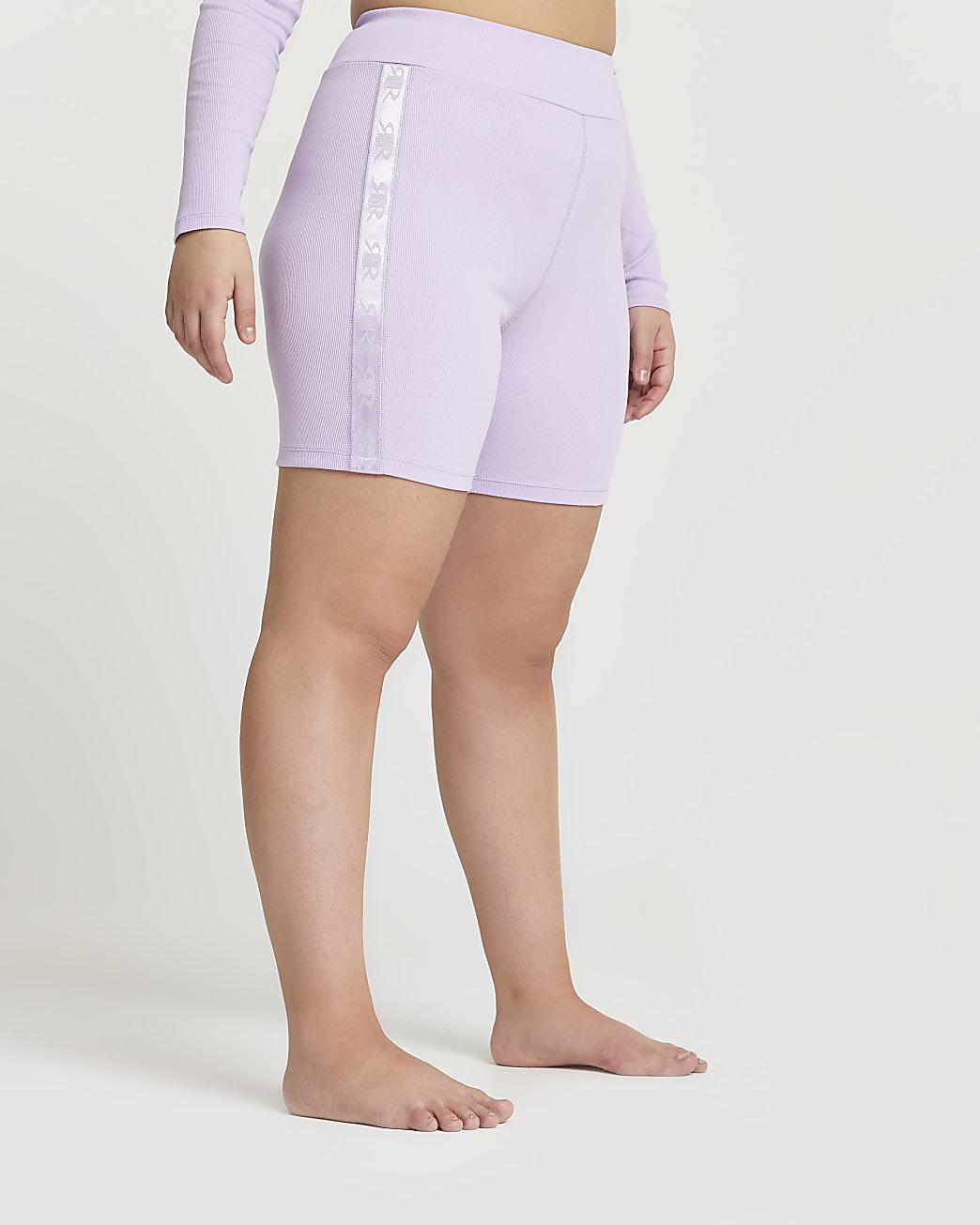Plus Intimates purple ribbed cycling shorts