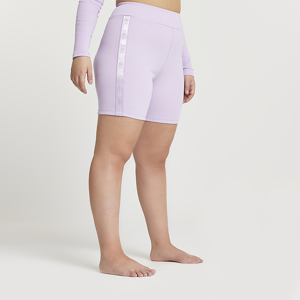 Plus Intimates purple ribbed cycling shorts